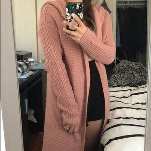 Pink duster with hood
